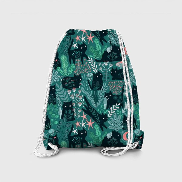 Рюкзак «Черный кот и девочка в цветах»