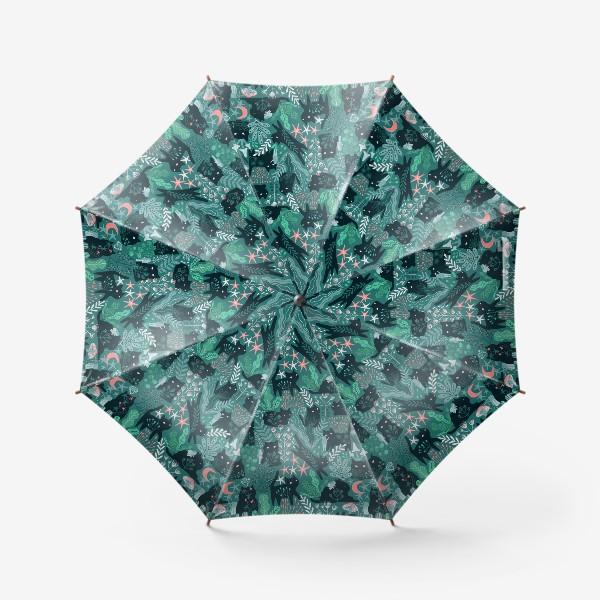 Зонт «Черный кот и девочка в цветах»
