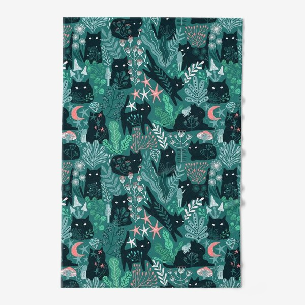 Полотенце «Черный кот и девочка в цветах»