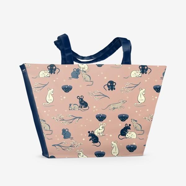 Пляжная сумка «МЫШИ В ЯПОНСКОМ СТИЛЕ »