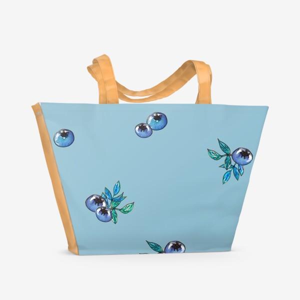 Пляжная сумка «Фон с россыпью голубики»