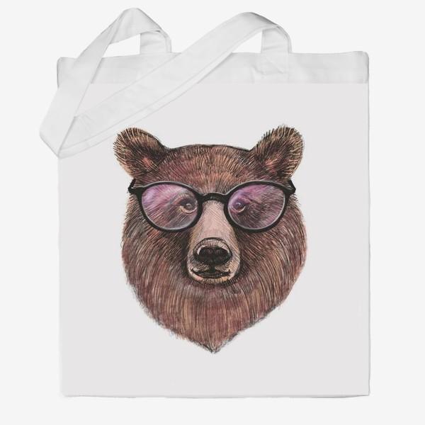 Сумка хб «медведь в очках»