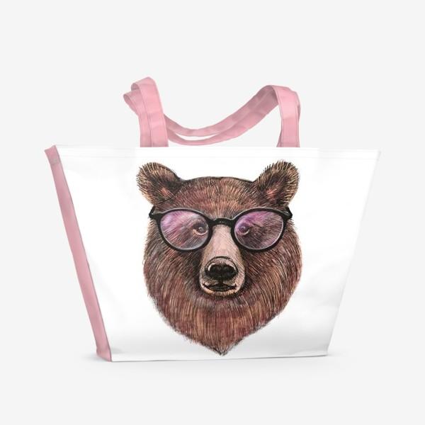 Пляжная сумка «медведь в очках»