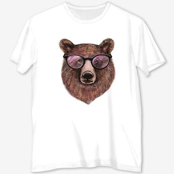 Футболка с полной запечаткой «медведь в очках»
