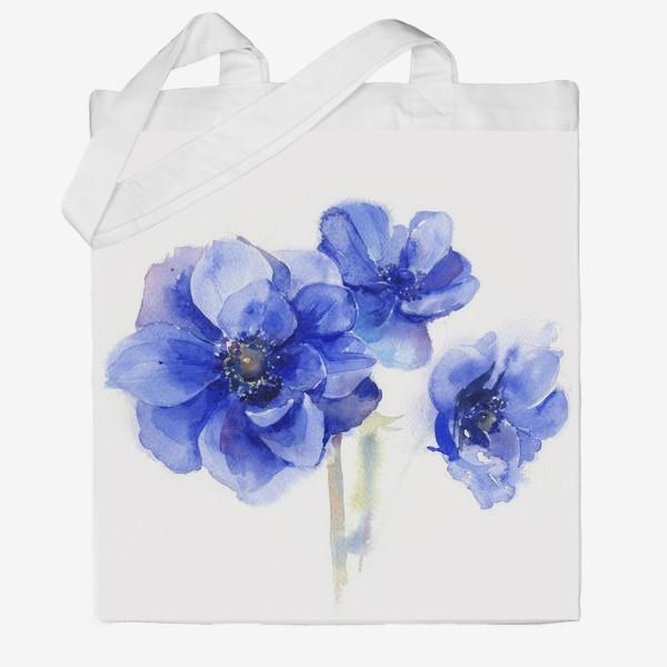 Сумка хб «Синие цветы Анемоны»