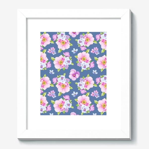 Картина «Цветочный принт на синем фоне»