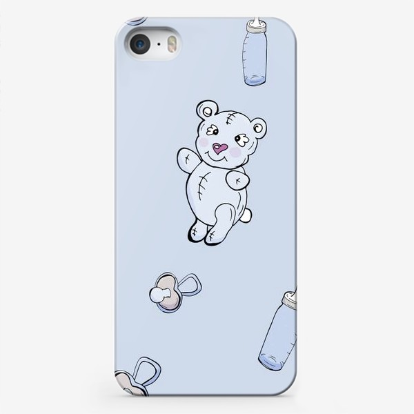 Чехол iPhone «Детский паттерн с плюшевыми мишками, сосками и бутылочками»