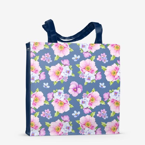 Сумка-шоппер «Цветочный принт на синем фоне»