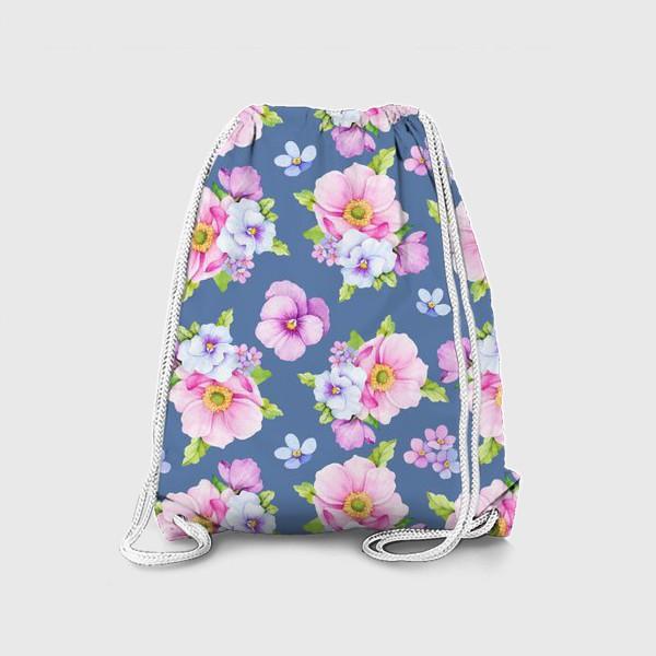 Рюкзак «Цветочный принт на синем фоне»