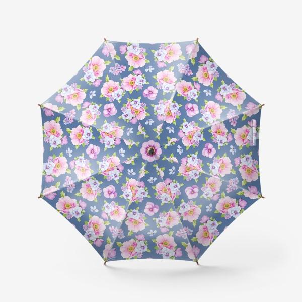 Зонт «Цветочный принт на синем фоне»