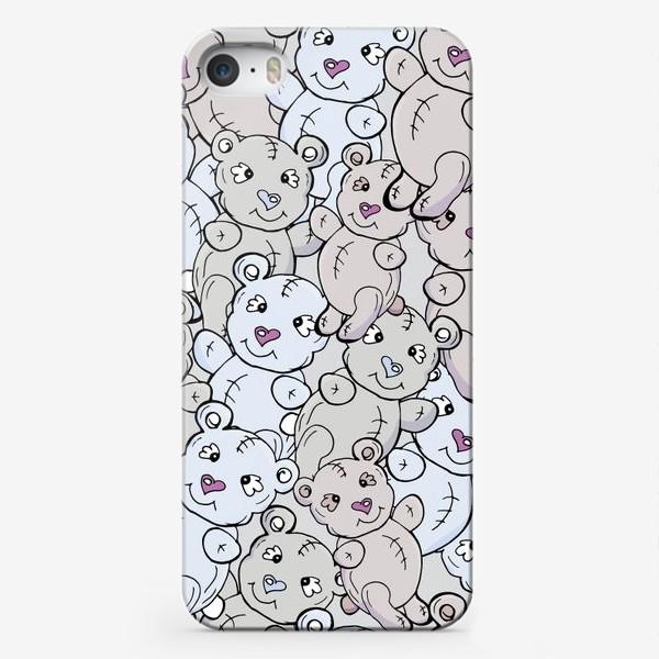 Чехол iPhone «Детский паттерн с мишками тедди в голубом, сером и кремовом»