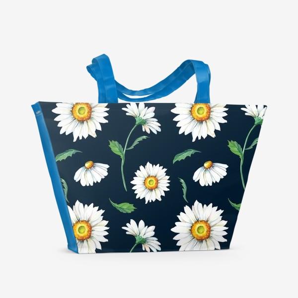 Пляжная сумка «Акварельные ромашки на темном.»