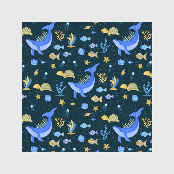 Шторы «Подводный мир/Киты, черепашки, рыбки»