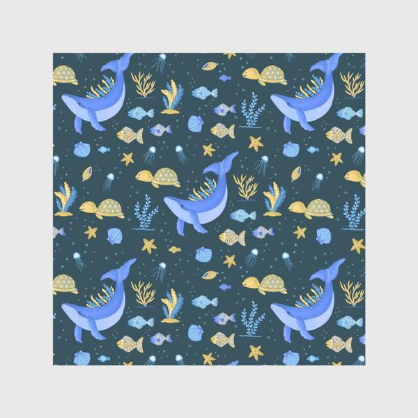 Скатерть «Подводный мир/Киты, черепашки, рыбки»
