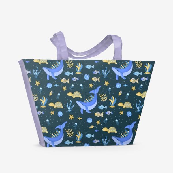 Пляжная сумка «Подводный мир/Киты, черепашки, рыбки»