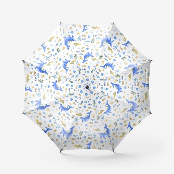 Зонт «Подводный мир/Киты, черепашки, рыбки»