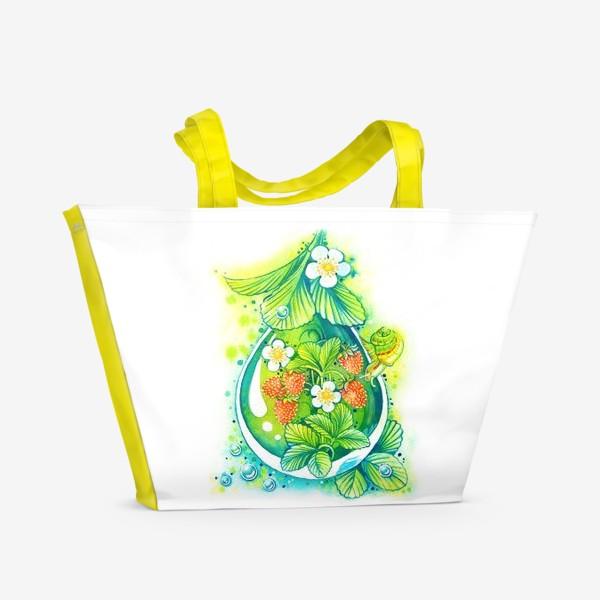 Пляжная сумка «Земляничная капелька.»