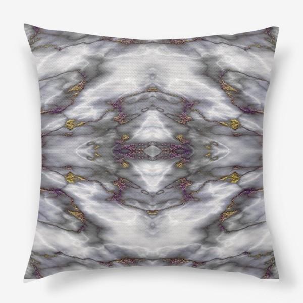 Подушка «Серый мраморный абстрактный орнамент»