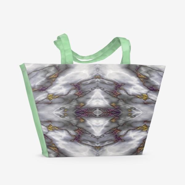 Пляжная сумка «Серый мраморный абстрактный орнамент»