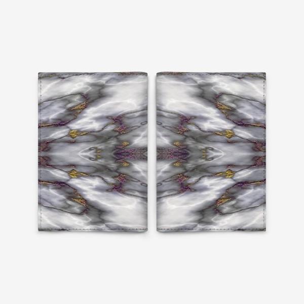 Обложка для паспорта «Серый мраморный абстрактный орнамент»