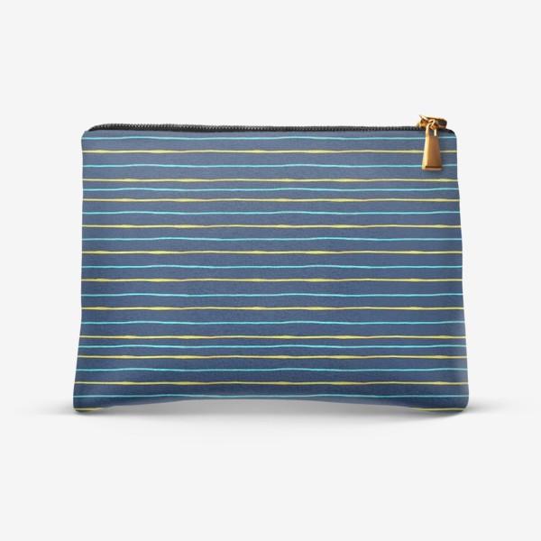 Косметичка «Паттерн акварельные желтые и бирюзовые полоски на тёмно-синем фоне»