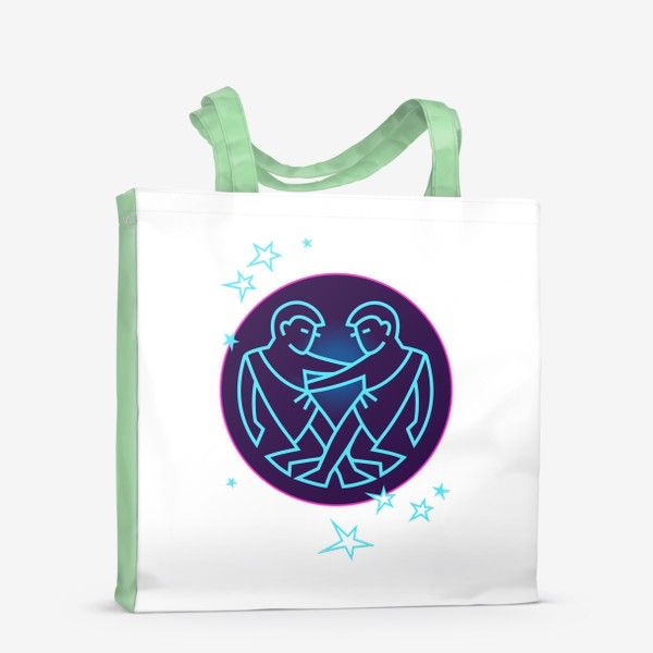Сумка-шоппер «Близнецы Знак Зодиака. Символ и яркий орнамент»