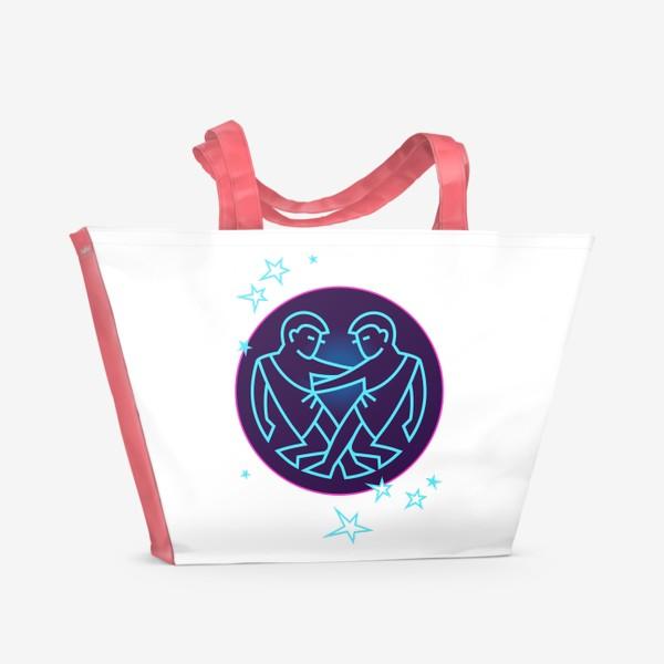 Пляжная сумка «Близнецы Знак Зодиака. Символ и яркий орнамент»