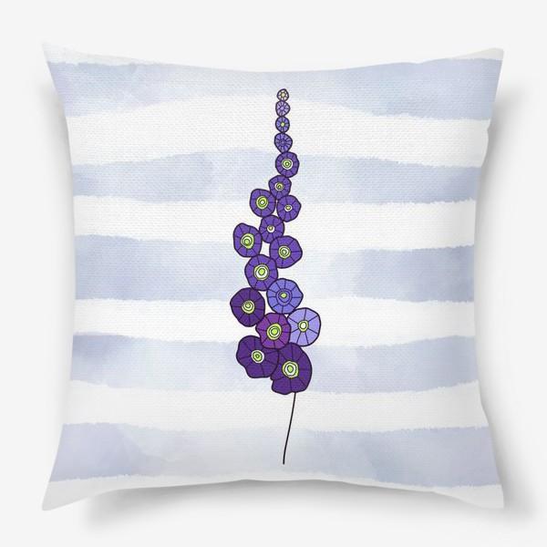 Подушка «Мальва на пыльно голубом акварельном фоне»