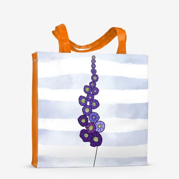 Сумка-шоппер «Мальва на пыльно голубом акварельном фоне»