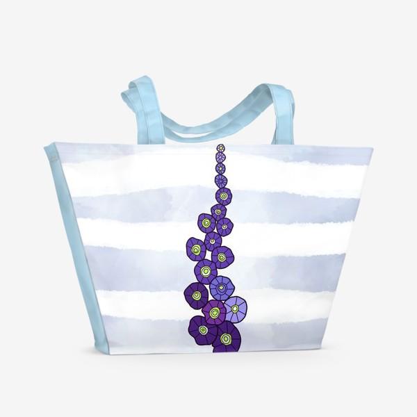 Пляжная сумка «Мальва на пыльно голубом акварельном фоне»