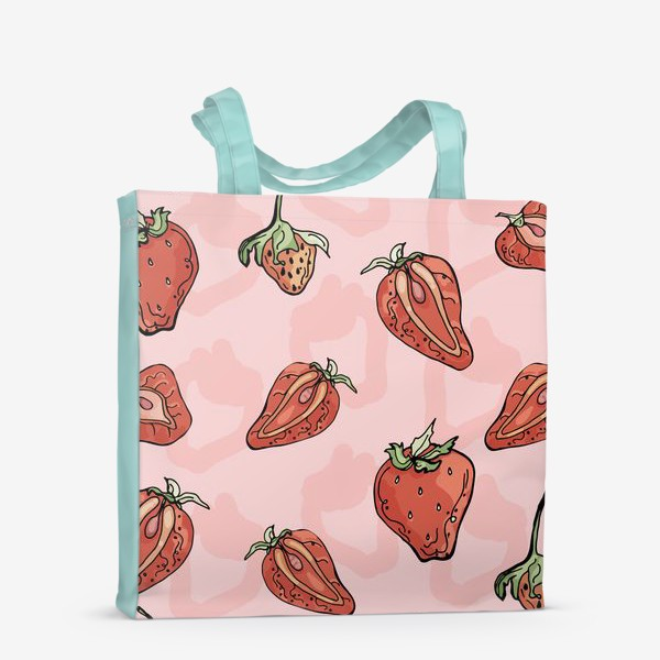 Сумка-шоппер «Клубничный паттерн с розовыми тенями»