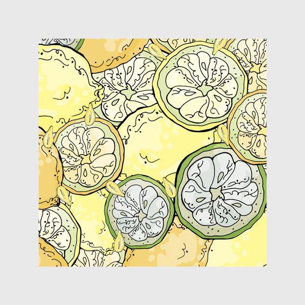 Шторы «Насыщенный паттерн с плодами, дольками и семечками лимона»