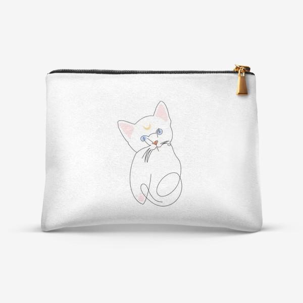 Косметичка «Котёнок. Кошка Луна. Минимализм»