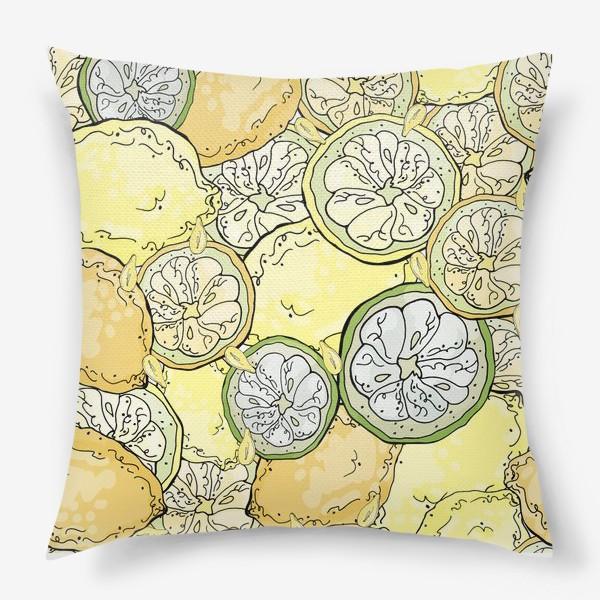Подушка «Насыщенный паттерн с плодами, дольками и семечками лимона»
