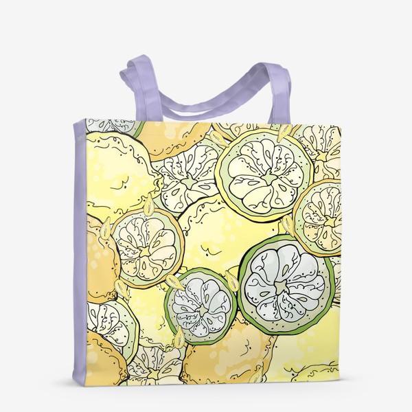 Сумка-шоппер «Насыщенный паттерн с плодами, дольками и семечками лимона»