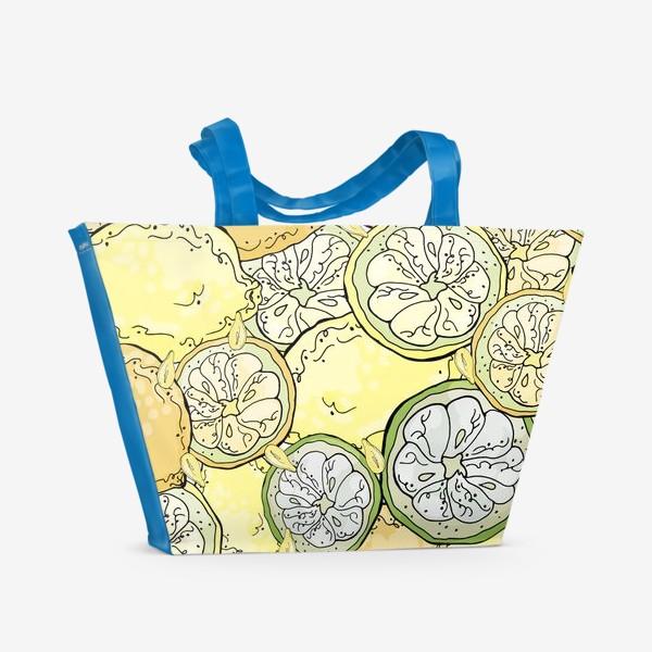 Пляжная сумка «Насыщенный паттерн с плодами, дольками и семечками лимона»