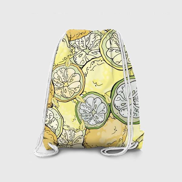 Рюкзак «Насыщенный паттерн с плодами, дольками и семечками лимона»