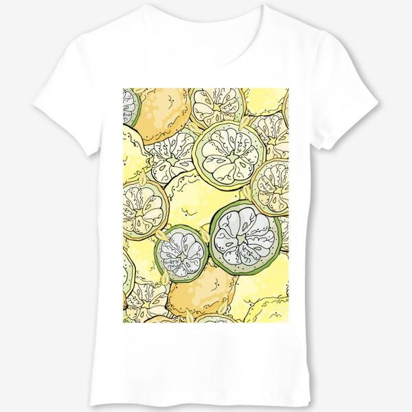 Футболка «Насыщенный паттерн с плодами, дольками и семечками лимона»