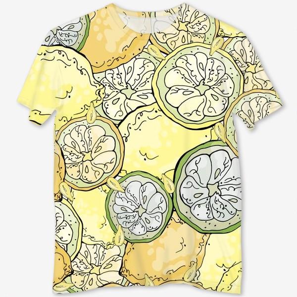 Футболка с полной запечаткой «Насыщенный паттерн с плодами, дольками и семечками лимона»
