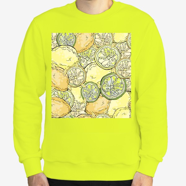 Свитшот «Насыщенный паттерн с плодами, дольками и семечками лимона»