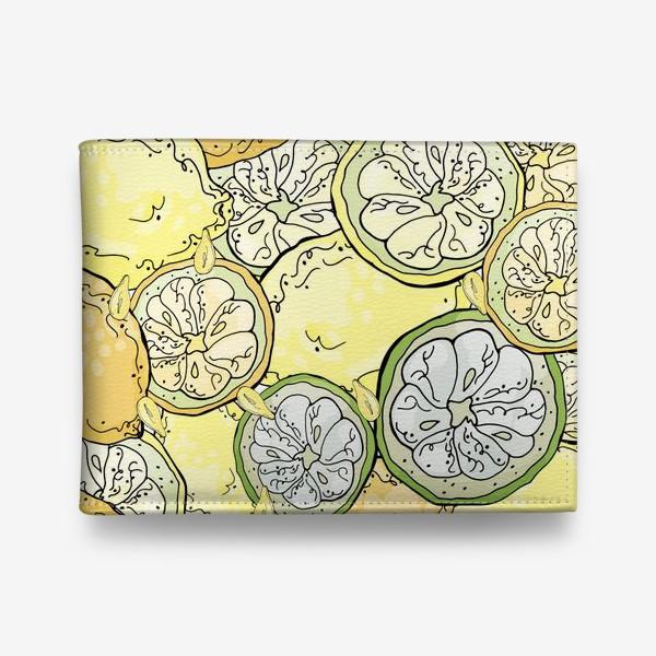 Кошелек «Насыщенный паттерн с плодами, дольками и семечками лимона»