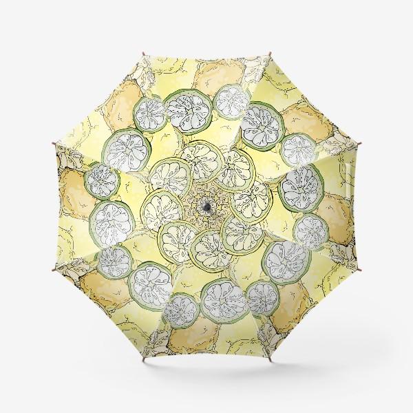 Зонт «Насыщенный паттерн с плодами, дольками и семечками лимона»