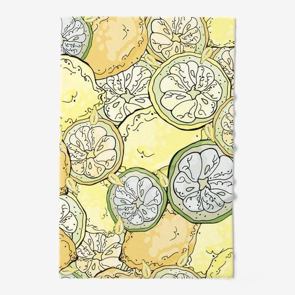 Полотенце «Насыщенный паттерн с плодами, дольками и семечками лимона»