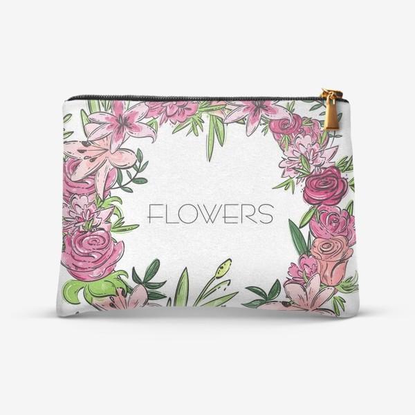 Косметичка «Иллюстрация цветы»