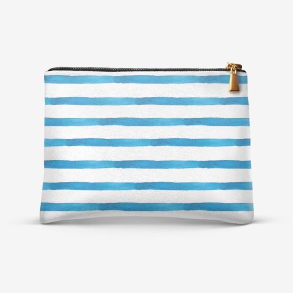 Косметичка «Паттерн широкие синие акварельные полоски»