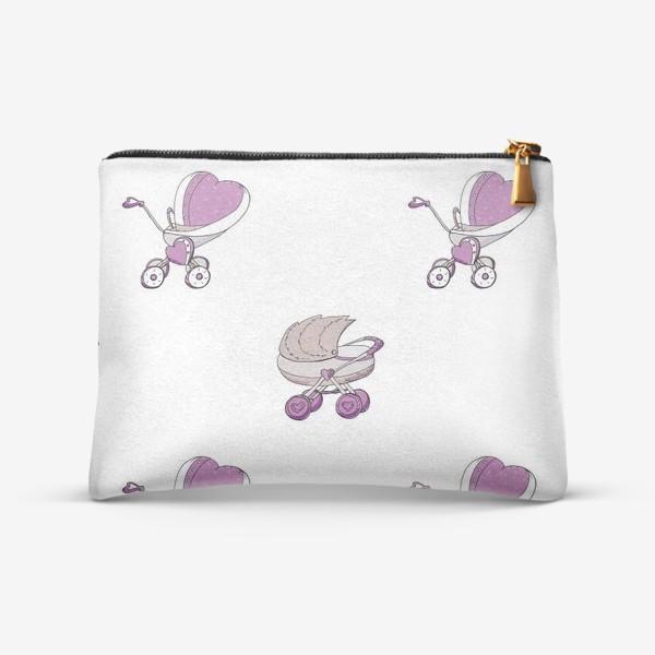 Косметичка «Детский принт с колясками для девочек»