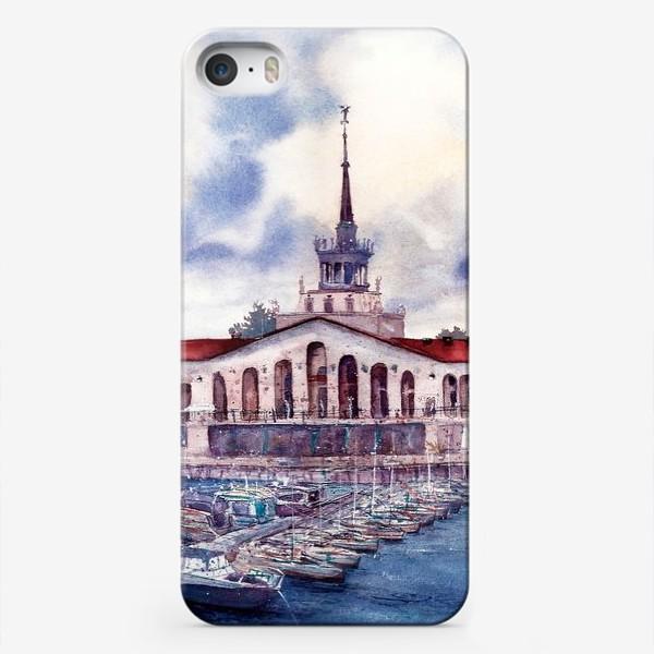 Чехол iPhone «Сочи. Морской Порт, акварельный пейзаж.»