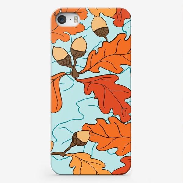 Чехол iPhone «Осенний паттерн с желудями и дубовыми листьями»