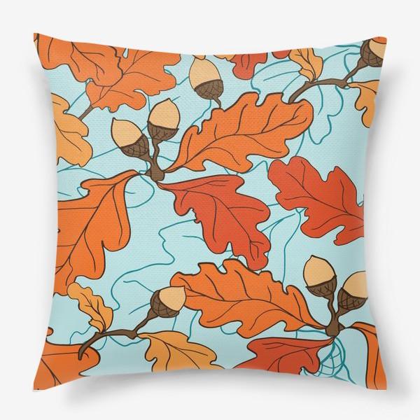 Подушка «Осенний паттерн с желудями и дубовыми листьями»