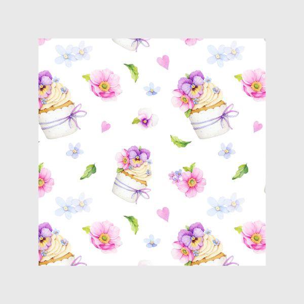 Шторы «капкейк с цветами»
